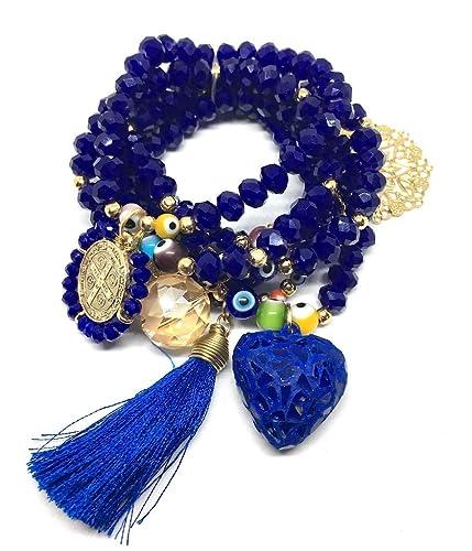 00d4f5fbd756 Pulsera para mujer Semanario Corazon Vitral  Amazon.com.mx  Handmade