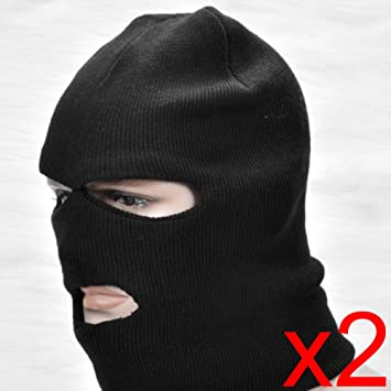 39f08b1fc4b8c 2pcs Custom Full Face Mask Knit Balaclava 3-Hole Neck One Size Fits All For Ski  Snow Winter Outdoor  Amazon.co.uk  Sports   Outdoors
