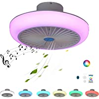 Smart Ceiling Fan Lights, LED Modern Ceiling Fan with Light Remote Control Bluetooth Speaker Music Colour Changing RGB…