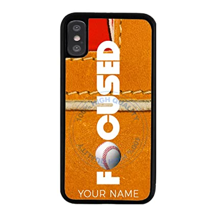 best website 16a9b 0b83a BleuReign Baseball Personalized Custom Name Focused Rubber Phone Case for  Apple iPhone X Xs Ten