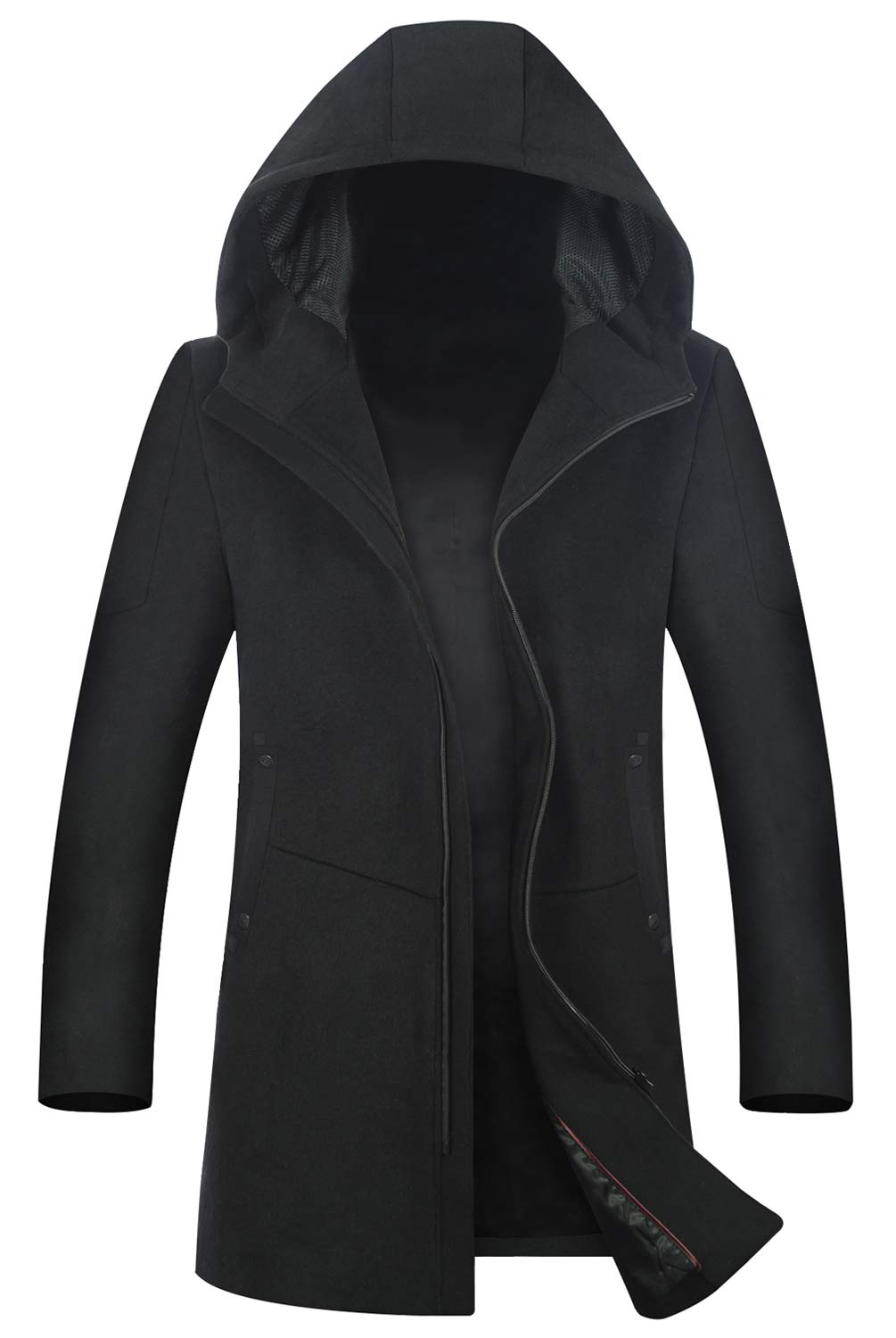 Men's Coat 80% Wool Content Classic Hooded Jacket Winter Stylish Trench Coat 1812 Black M by ELETOP