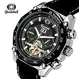 Men's Watches Luxury Tourbillon Watch Leather Strap Self Winding Mechanical Automatic Wrist Watch