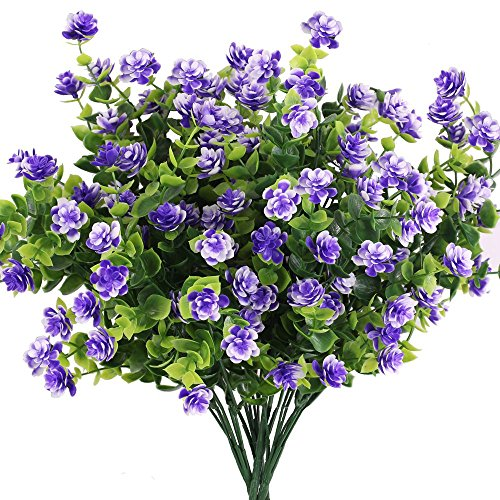 Star Flower Stem - Besttoyhome 4 Bushes Faux Flower Artificial Star Flower Bush in Purple with Accent Greenery- 14