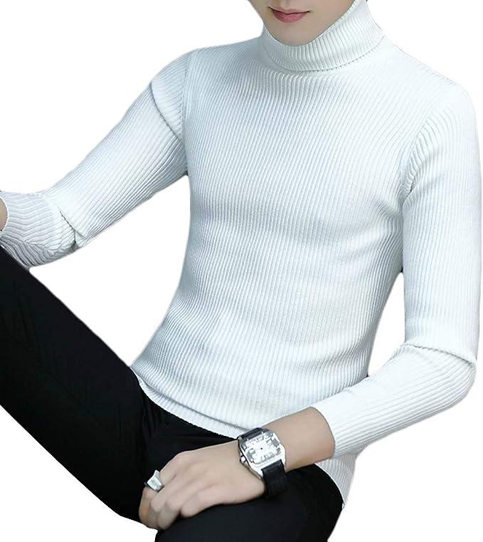 SHOWNO Mens Slim Autumn Winter Printed Round Neck Knitting Pullover Sweater
