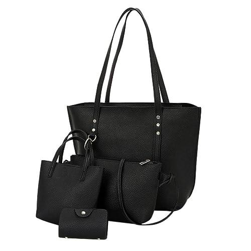 94dd765959 4 PCS Borse Donne Moda,♚MEIbax♚4 Pezzi Donna Modello in Pelle Borsa  Tracolla + Crossbody Bag + Borsetta + Portafoglio (nero): Amazon.it: Scarpe  e borse