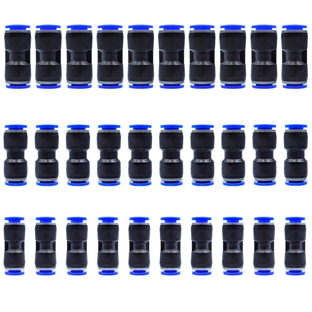 Tailonz Pneumatic 30 pcs Straight Push Connectors Plastic Quick Release Connectors Air Line Fittings for 1/4 5/16 3/8 Tube (2 Way)