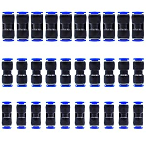 Tailonz Pneumatic 30 pcs Straight Push Connectors Plastic Quick Release Connectors Air Line Fittings for 1/4 5/16 3/8 Tube (2 Way)