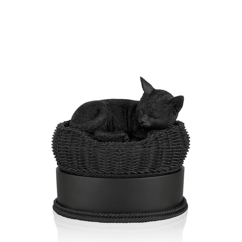 Perfect Memorials Black Cat in Basket Cremation Urn by Perfect Memorials