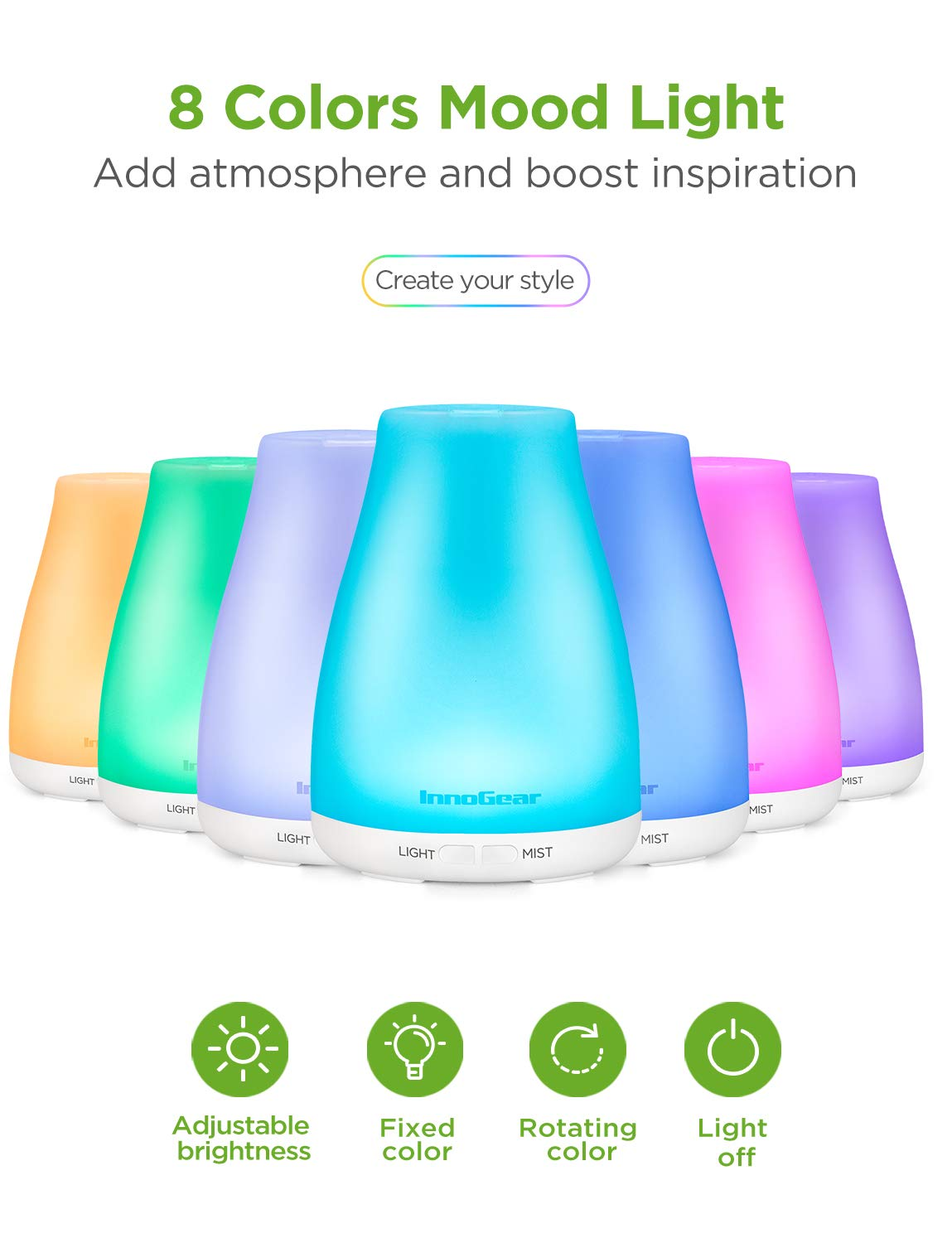 InnoGear Essential Oil Diffuser with Oils, 150ml Aromatherapy Diffuser with 6 Essential Oils Set, Aroma Cool Mist Humidifier Gift Set, White : Beauty