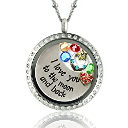 I Love You to the Moon and Back Floating Locket Necklace with Charms- Locket, Charms, Plate & Chain Included!