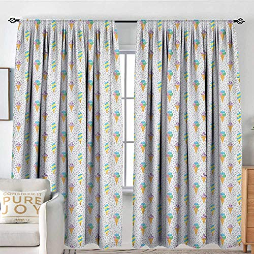 NUOMANAN Blackout Curtains Ice Cream,Summer Ice Dessert Collection with Waffle Cones and Sundae Dairy Refreshment, Multicolor,for Bedroom&Kitchen&Living Room 84