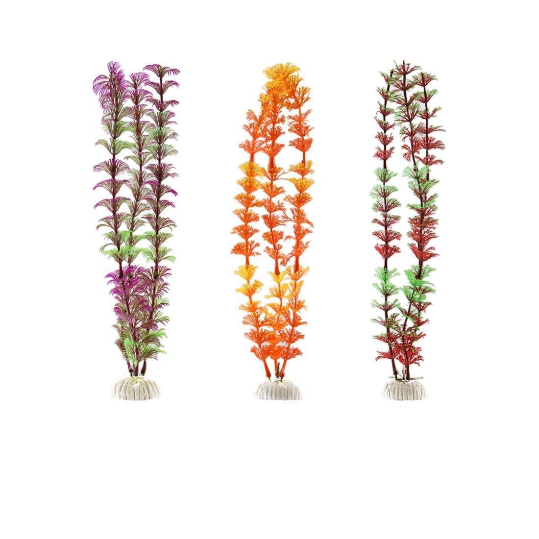 1Pc Plastic Fish Tank Aquarium Artificial Plant Grass Ornament Landce Tricolor