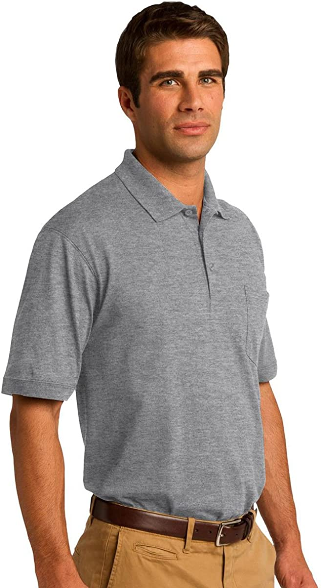 Port & Company 5.5-Ounce Jersey Knit Pocket Polo Shirt: Clothing