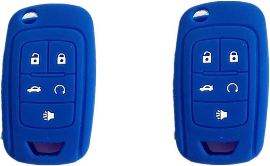 2Pcs MJKEY New Blue Silicone 5 Buttons Flip Remote Key Case Cover Fob Shell Holder Jacket Protector for Chevrolet Cruze Volt Camaro Equinox Spark Malibu Sonic KR55WK50073 OHT01060512