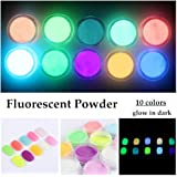 NICOLE DIARY 10 Neon Colors Phosphorescent Luminescent Fluorescent Powder Glow In Dark Nail Decorations Nail Art Acrylic Use DIY Kit