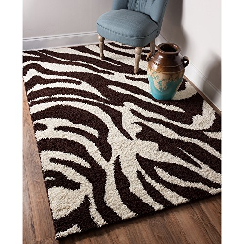 Safari Zebra Print Design Area Rug, Rustic Geometric Wavy Stripes Pattern, Rectangle Indoor Hallway Doorway Living Area Adults Bedroom Carpet, Earthy Modern Animals Theme, Brown, Cream, Size 5 x 7'2