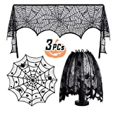 3 PACK Halloween Decoration Black Lamp Shades Cover Lace Spiderweb Tablecloth Fireplace Scarf Cover Window Home Festival Party Decor Supplies 18 x 96 inch