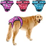 Dog Diapers Female, PETBABA Washable Cover Up Panties Reusable Comfortable Nappies Adjustable Waist Luxury Pants for Girl in Heat Period - 3 Pcs