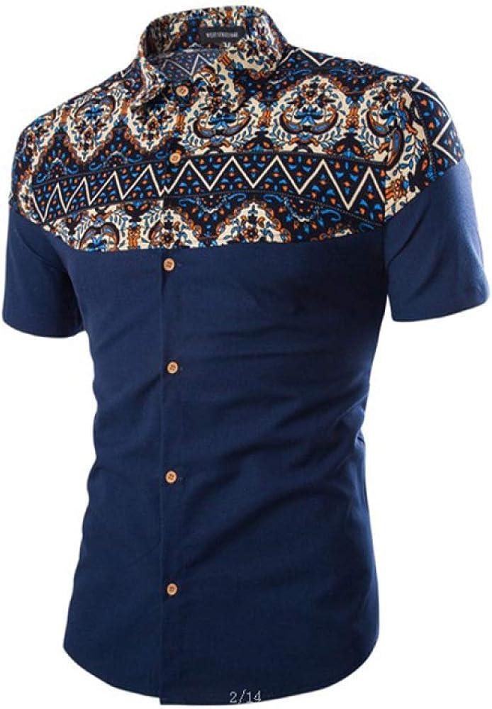 Camisa de manga corta para hombre, estilo étnico, casual, tamaño grande, de lino