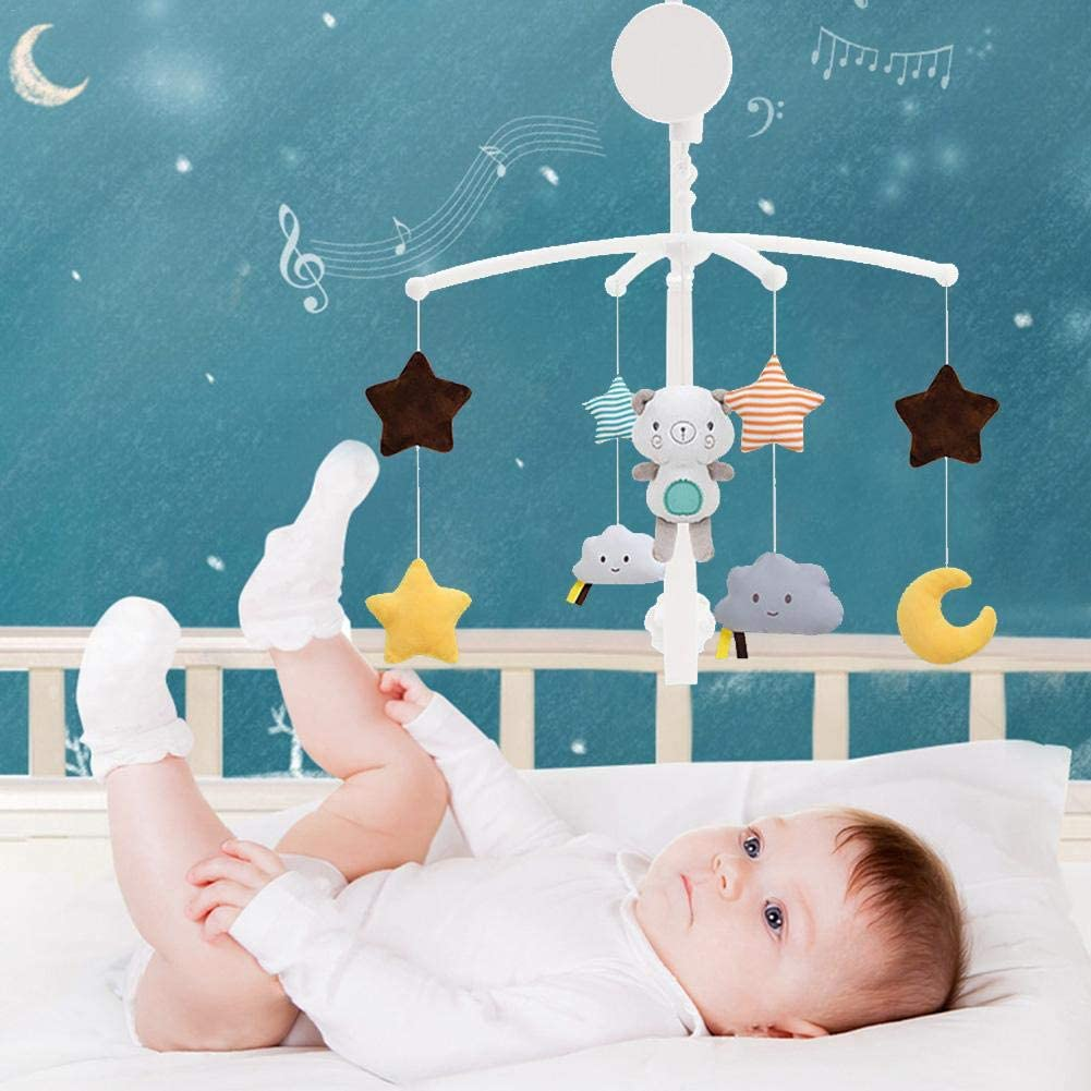Baby Mobiles for Cots Baby Mobile Baby Crib Musical Baby Crib Mobile Toy Infant Bedbell Rattle Toy Rotating Bedside Bell Baby Comfort Cloth Toy Musical Baby Crib Mobile Toy
