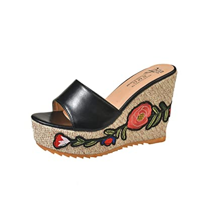 933296981eb7 BFMEI High-Heeled Slope with Flowers Women s Sandals and Slippers Thick-Soled  Platform Sandals