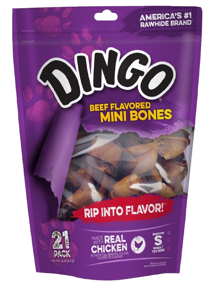 Dingo Beef Flavored Mini Rawhide Bones for Small/Toy Dogs, 21-Count