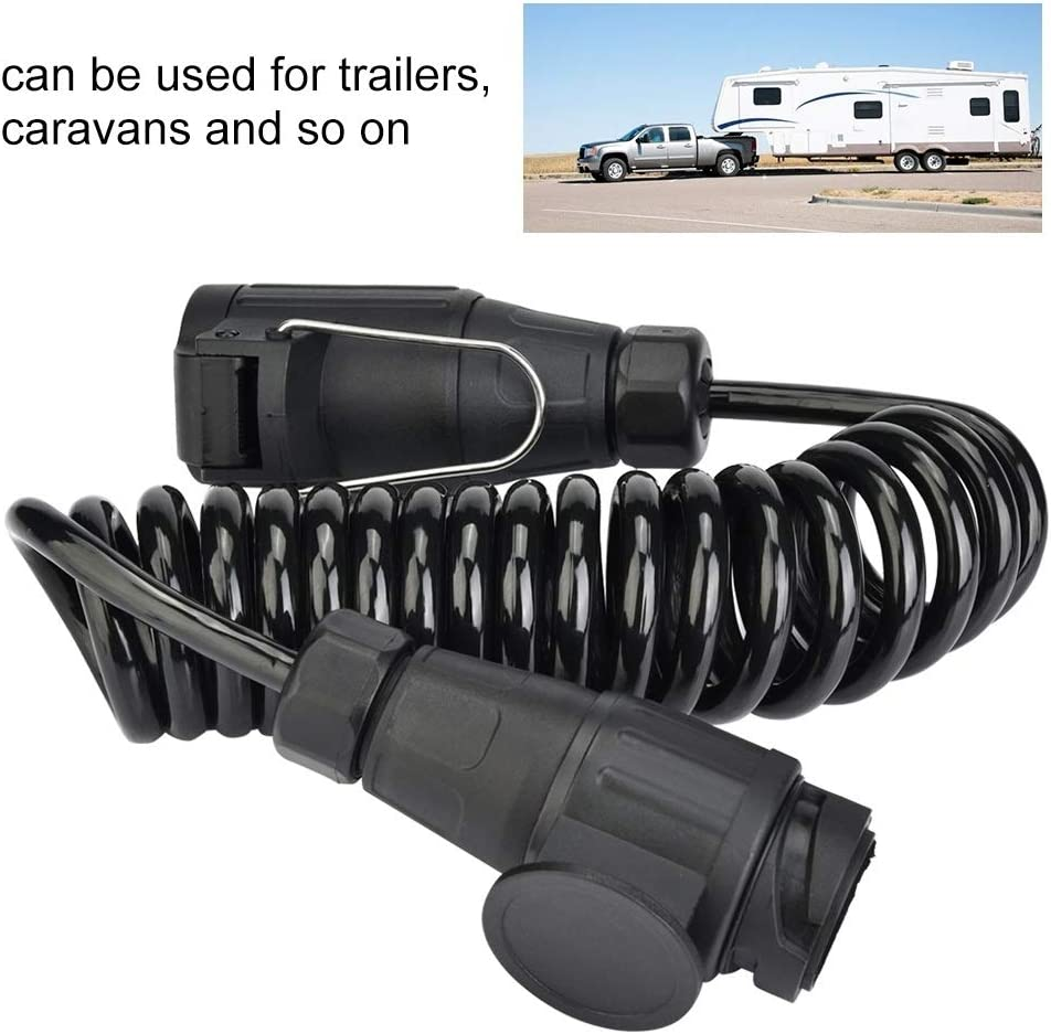 Enrilior Trailer Plug Adapter Trailer Connector,13 Pin Plug Wiring Spring Cable Adapter for Trailer Caravan