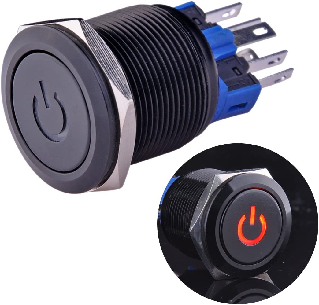 """Ulincos Latching Pushbutton Switch U22A4 1NO1NC SPDT ON/Off Black Metal Shell with Red LED Suitable for 22mm 7/8"""" Mounting Hole(Red)"""