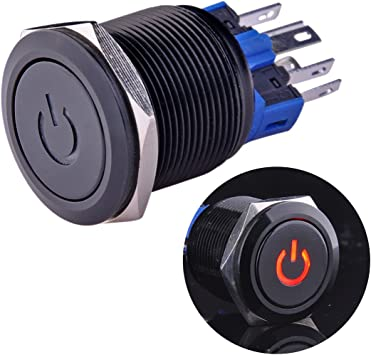 2X Durable 12V Led 25mm Car Push Button Red Angel Eye Metal Momentary Switch