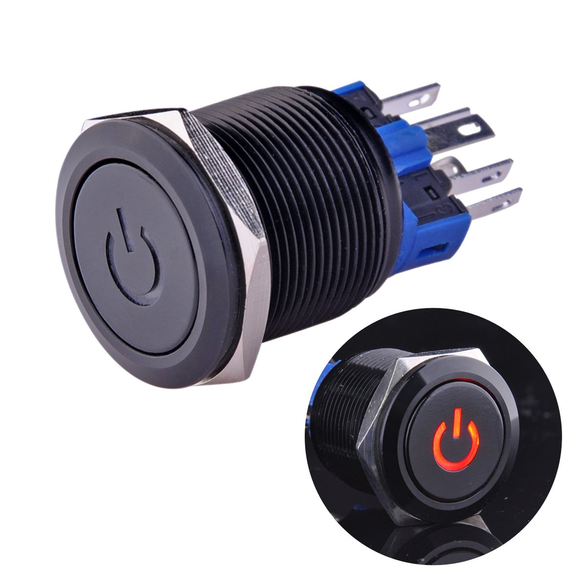 Best Rated In Pushbutton Switches Helpful Customer Reviews How To Wire Push Button Switch 8 A Ulincos Latching U22a4 1no1nc Spdt On Off Black Metal Shell With Red Led