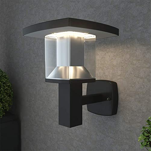 NBHANYUAN Lighting LED Outdoor Wall Light Fixtures Exterior Wall Sconce Stainless Steel Black Finish Weatherproof 3000K Warm Light Front Door Porch Light 110V 1000LM A