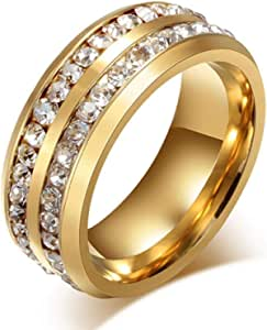 Unisex engagement ring Golden plated inlaid 2 row crystal stones US size 8
