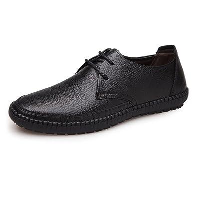 Classique Hommes Chaussures En Cuir Bout Rond Cuir De Vache Véritable Supérieur Dentelle Jusqu'à Mocassin Semelle Souple Plat Chaussures de sport en cuir pour hommes ( Color : Brown , Size : 39 EU )