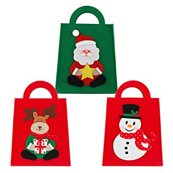 Amazon.com: Paquete de 3 bolsas de regalo de Navidad ...