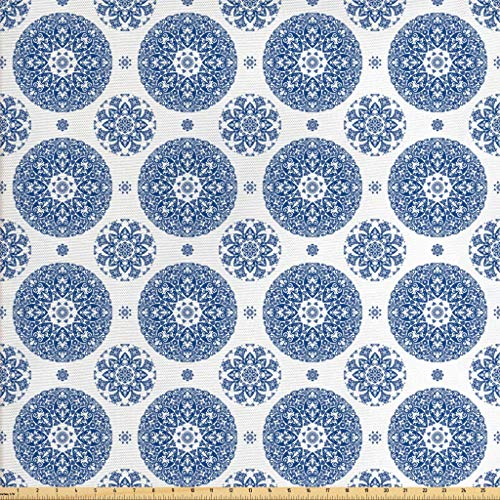 Ambesonne Vintage Fabric by The Yard, French Country Style Floral Circular Pattern Lace Ornamental Snowflake Design Print, Decorative Fabric for Upholstery and Home Accents, 3 Yards, Blue White
