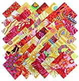 Kaffe Fassett Collective SUNSHINE Floral Bright Butterscotch Clementine Yellow Orange Precut 5-inch Cotton Fabric Quilting Squares Charm Pack Westminster Fibers