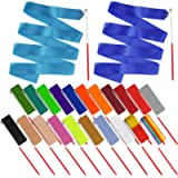 obmwang 22PCS Dance Silk Ribbon Wands 6.6ft Ribbon Streamers Gymnastics Rhythmic Artistic Twirling Ribbons Rods for Kids…