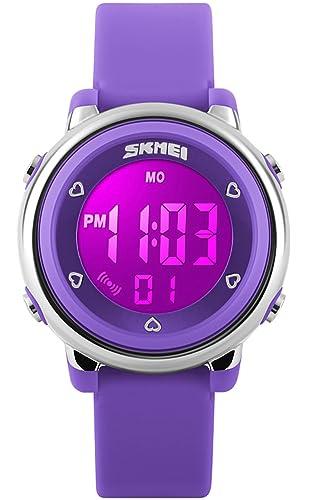 53dd3c34ed2c Relojes Niños Niñas 7 Color LED Luz Temporizador de Alarma Digital  Cronómetro Deportes a Prueba de Agua Multifunción Reloj de Pulsera para  Niños de ...
