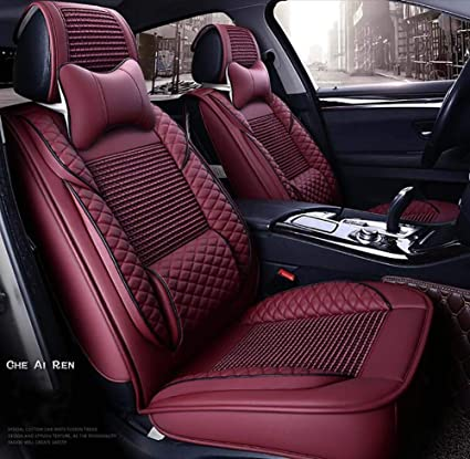 Car Seat Covers Leather ICY Silk Soft Comfortable And Breathable Full Set Of
