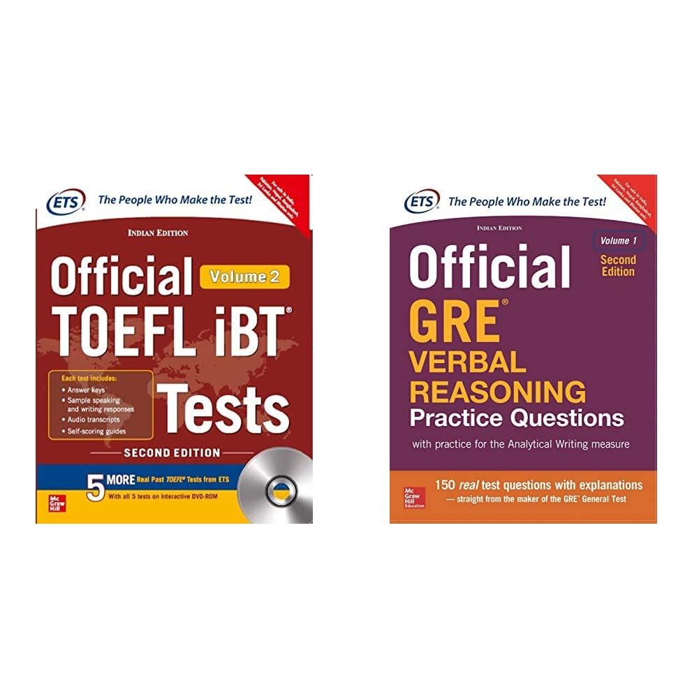 Official Toefl Ibt Tests Volume Ii W/Dvd + Official Gre Verbal Reasoning Practice Questions (Set Of 2 Books)