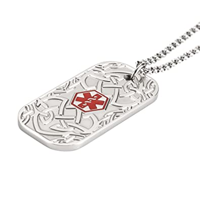 Free Engraving Stainless Steel Medical Alert ID Necklace for Men  Women,22inch