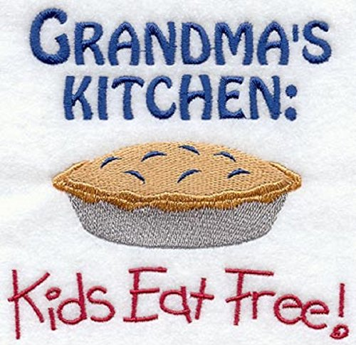 Embroidered Dish Towel Grandma's Kitchen Kids Eat Free Design