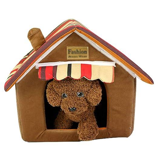 JEELINBORE Práctica Cama para Mascotas, Desmontable Plegable Casetas Casa para Gatos Perros (33 * 26 * 35cm, Azul): Amazon.es: Productos para mascotas