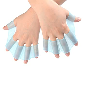981658e19b66 ATPWONZ Finger Webbed Gloves Hand Fins Gear Palm Flippers Paddle Soft Silicone  Swimming Size S M L