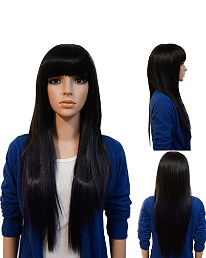 falamka negro larga recta con flequillo mujeres peluca