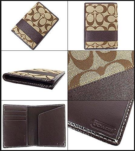 Mahogany Passport Holder (COACH SIS Signature Stripe Passport Case Brown / Khaki / Mahogany F61768)