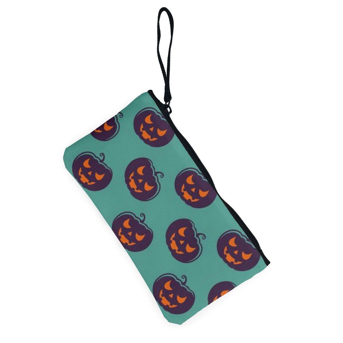 YUANSHAN Evil Pumpkin Unisex Canvas Coin Purse Change Cash Bag Zipper Small Purse Wallets with Handle