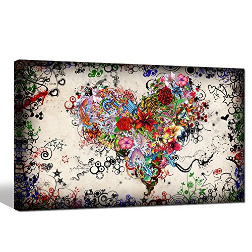 Sea Charm - Contemporary Vintage Abstract Art for Living Room,home Decor Pictures,love Heart Modern Wall Art Gallery Wrapped,doodle Canvas Wall Art Framed and Ready to Hang (16x24inch) - Frame Photo Art Heart Charm