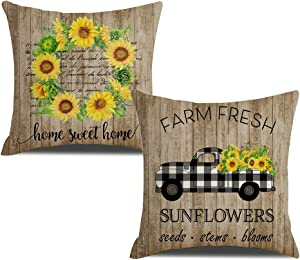 "KACOPOL Vintage Sunflowers Pillow Covers Retro Wood Rustic Farmhouse Home Sweet Home Sunflower Truck Farm Decor Cotton Linen Throw Pillow Case Cushion Cover 18"" x 18"" Set of 2(Yellow-Sunflower)"