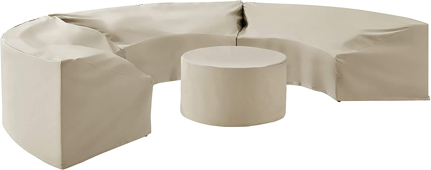 Crosley Furniture MO75016-TA Heavy-Gauge Reinforced Vinyl 4-Piece Catalina Cover Set (3 Round Sofas and Coffee Table), Tan